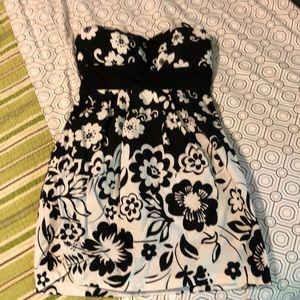 Black and white floral mini dress.